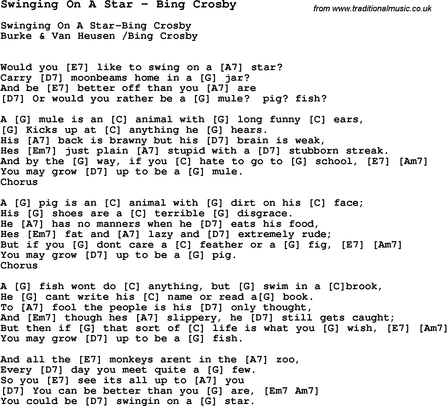 Song swinging on a star by bing crosby with lyrics for vocal song swinging on a star by bing crosby song lyric for vocal performance plus accompaniment chords for ukulele guitar banjo etc hexwebz Gallery