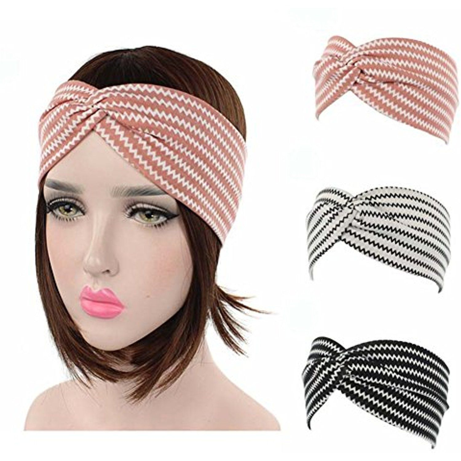Per-Gull 3PC Headbands Vintage Elastic Head Wrap Stretchy Moisture Hairband  Twisted Cute Hair Accessories for Women     For more information 7bff9ca5e7e