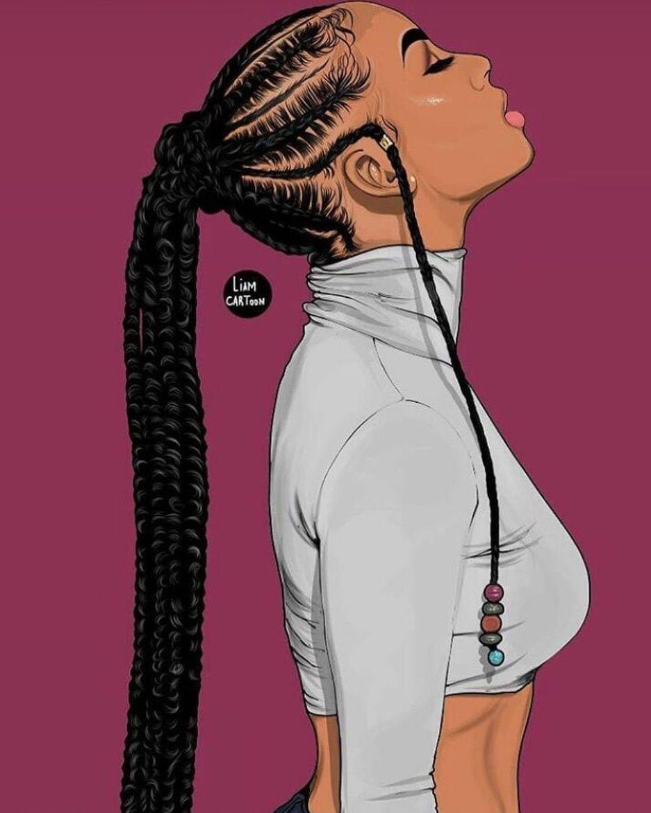 Drawing braids cartoon