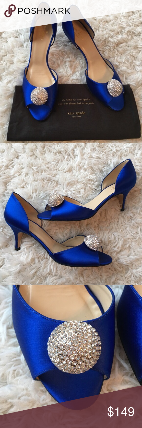 Kate Spade Satin Heels These heels are a pretty vibrant blue satin. There's a crystal detail at the top of the shoe in front. I've worn once so these are in excellent shape. Reasonable offers accepted with the offer button. kate spade Shoes