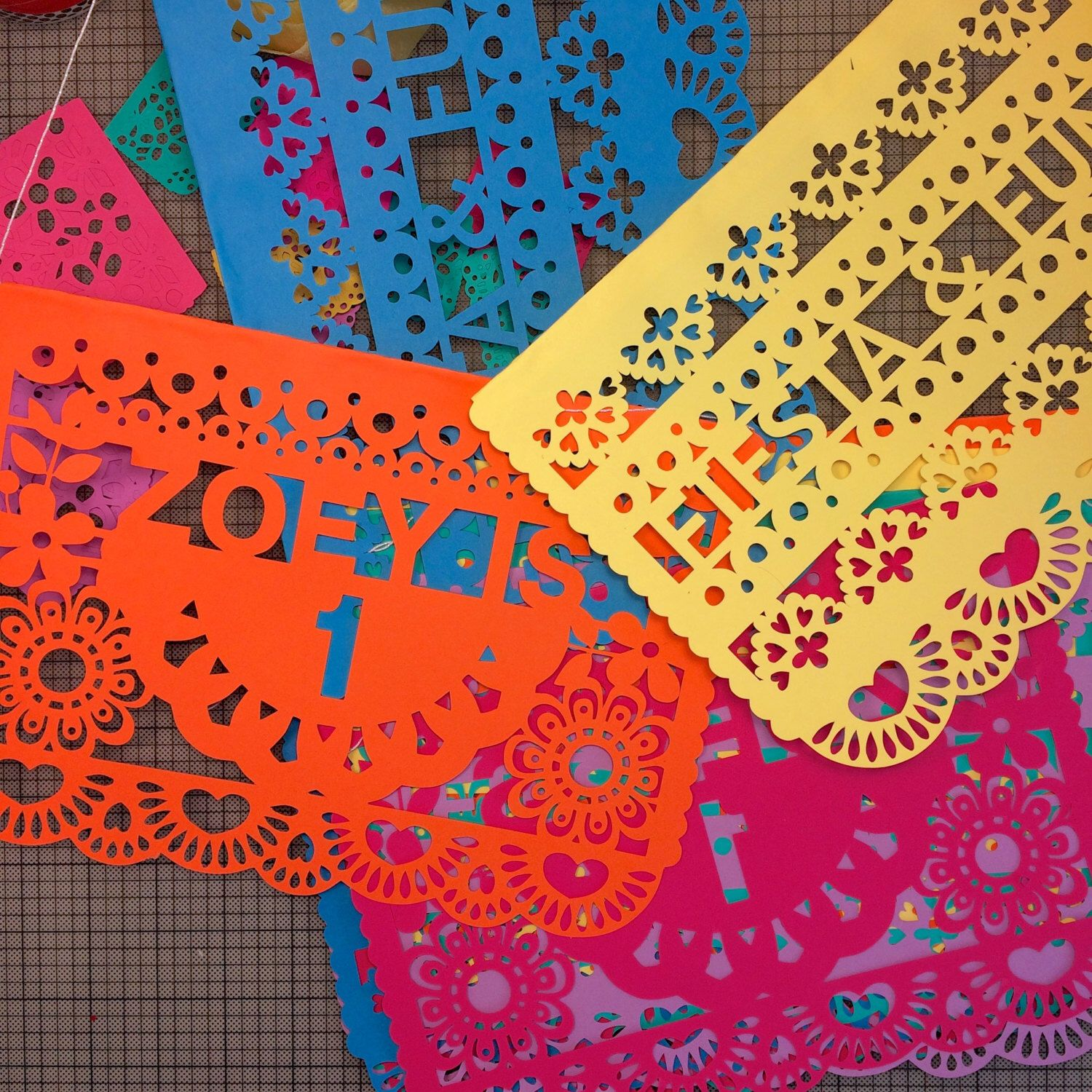 Papel Picado Banners, Personalized Fiesta Birthday Banners, Customized Flags For