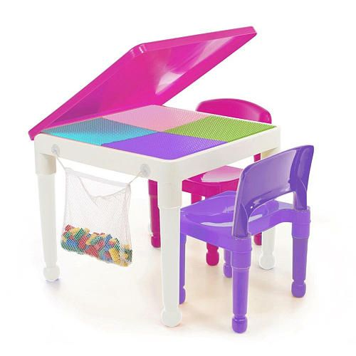 The Tot Tutors 2-in-1 Pink Plastic LEGO® Compatible Activity Table ...