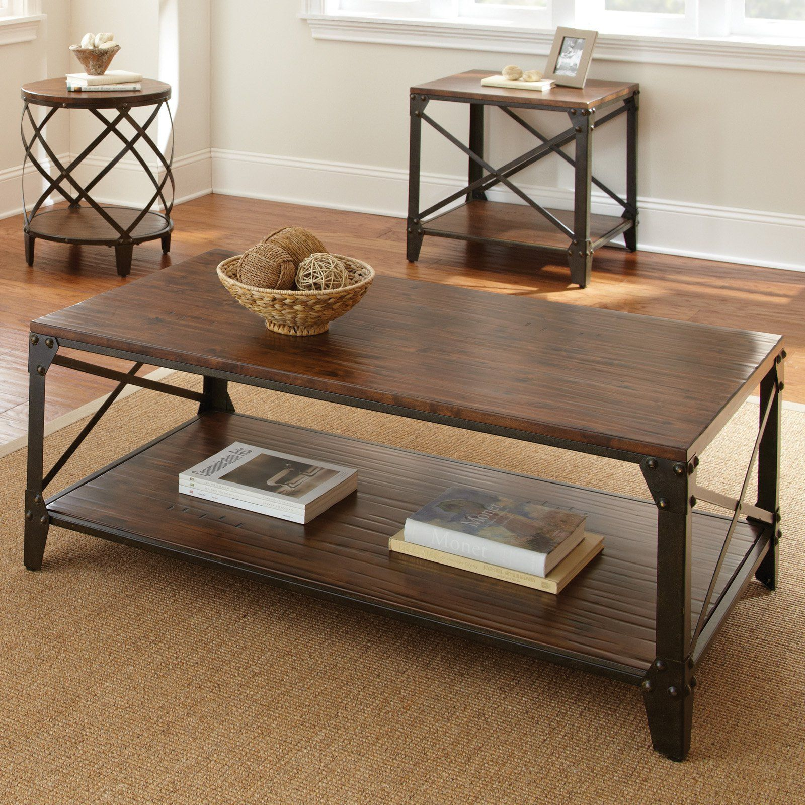 Exceptional Steve Silver Winston Rectangle Distressed Tobacco Wood And Metal Coffee  Table