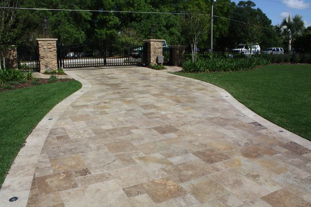 Classic travertine french pattern with matching edging for Tile driveway