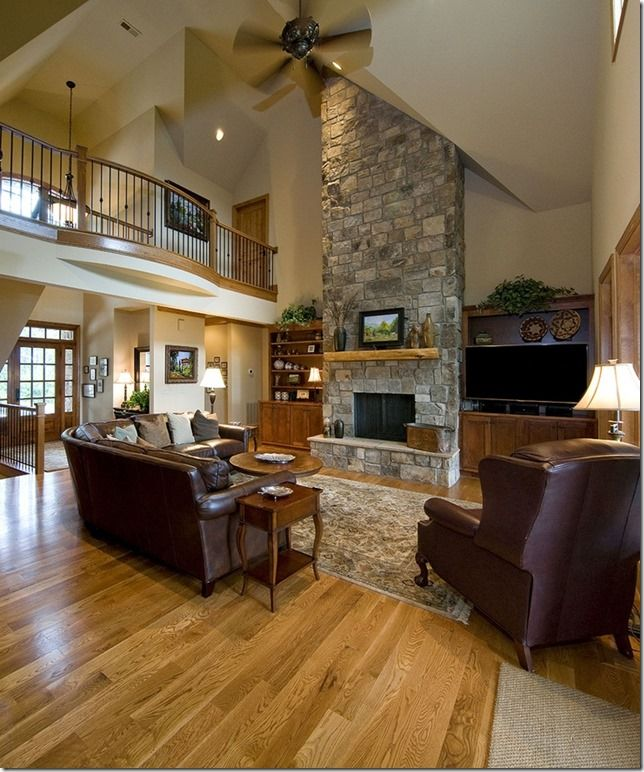 Great room of the hollingbourne house plan 990 built in for Floor plans vaulted ceilings