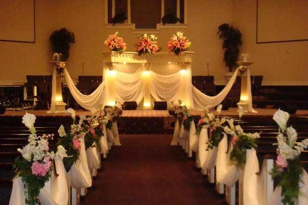 Church wedding decorations photos i love the cloth and purple and church wedding decorations photos i love the cloth and purple and blue flowers to add would be cute junglespirit Choice Image
