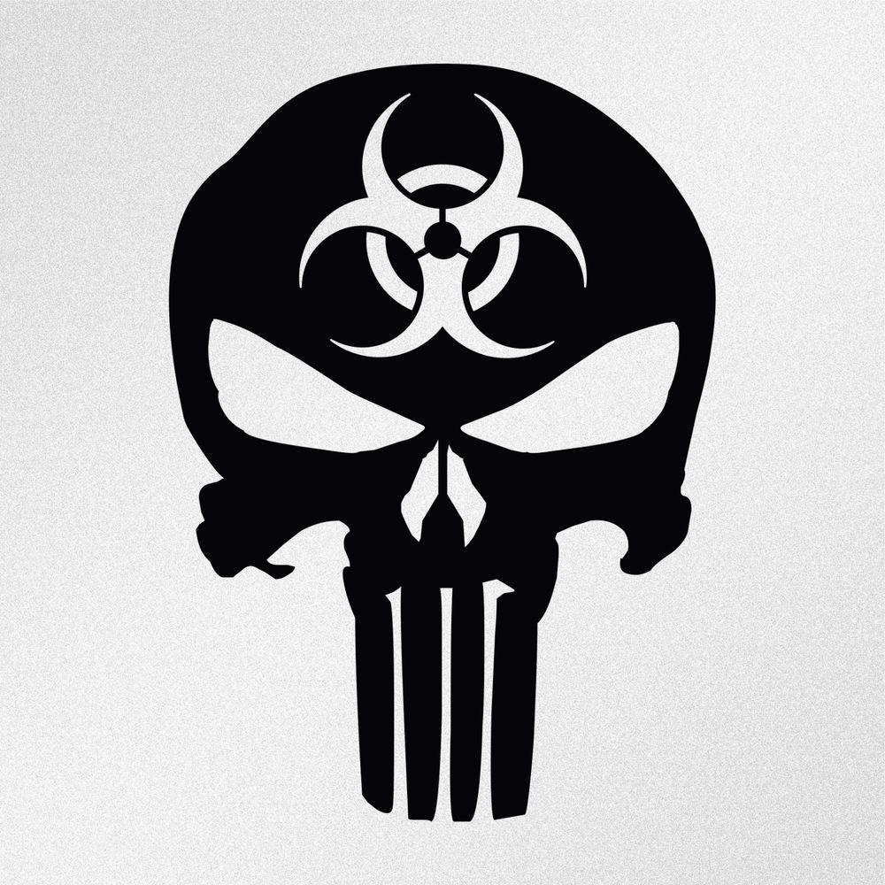 Details About Punisher Skull Biohazard Symbol Car Body Window - Vinyl decals for car body