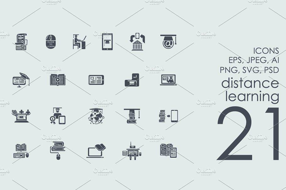 21 Distance Learning Icons Distance Learning Icons Icons Business Card Logo Distance Learning Templates