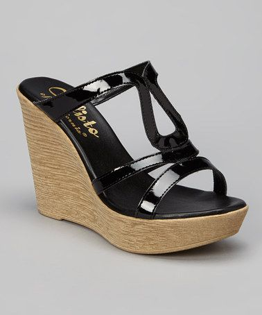 Look what I found on #zulily! Black Cool Wedge by CALLISTO of CALIFORNIA #zulilyfinds