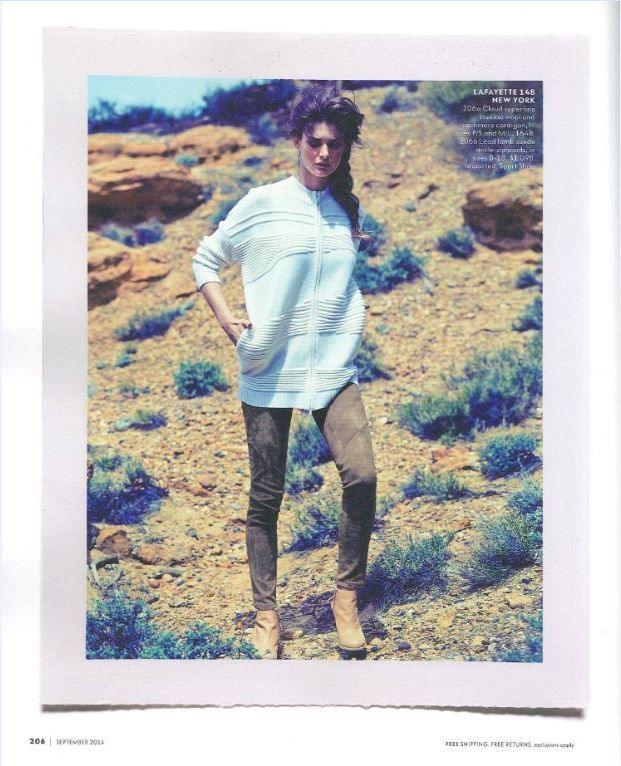 Who said you can't wear white after Labor Day? Our Neiman Marcus September 2014 look (pg 206) proves that white can be worn year-round. The look features our Luxe Merino Cashmere Zip Front Cardigan and Suede Slim Pant.