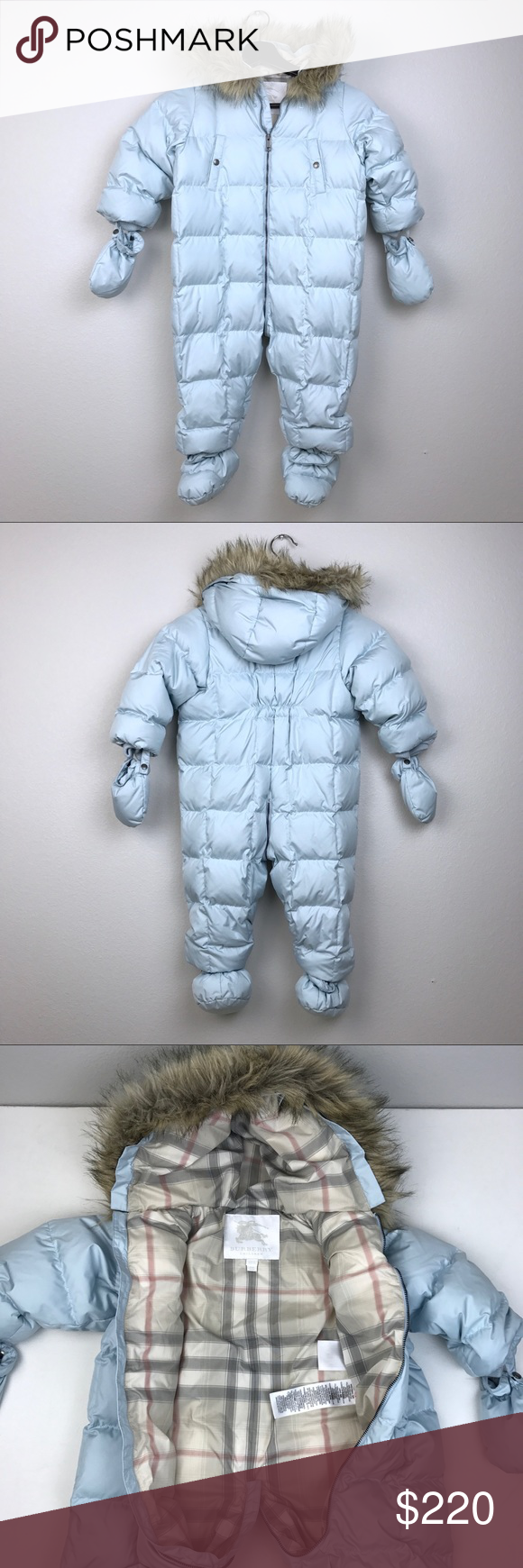 9ce0431134b5 Burberry Baby Blue Down Filled Puffer Snow Suit Burberry Baby Down Filled  Puffer Snow Suit in Powder Blue Size 24 Month. A water-repellent puffer  suit with ...