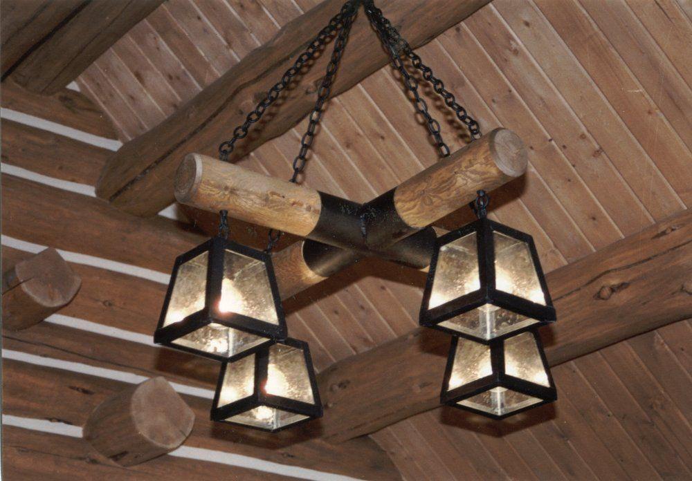 Rustic Bathroom Light Fixtures: ... Log & Wrought Iron Lighting