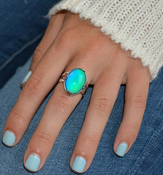 a8b7f88cd Mood Ring , Sterling Silver Mood Ring, Color Changing Rings, Fleur ...