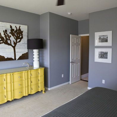 yellow dresser in gray master bedroom with white/black accents - like!