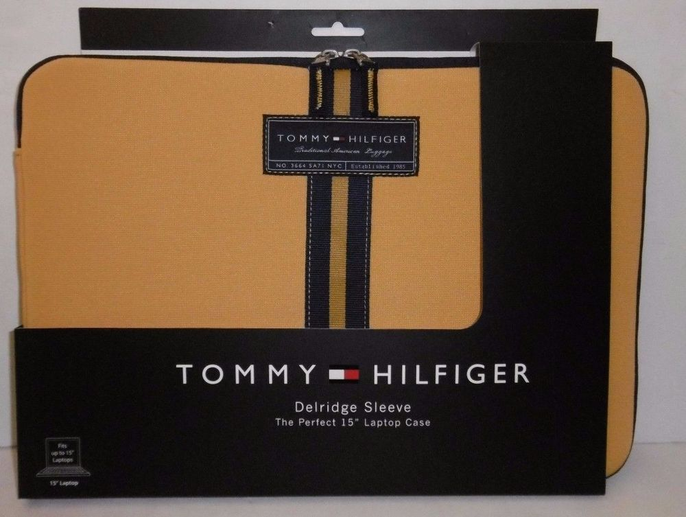 9e05dc5a TOMMY HILFIGER DELRIDGE SLEEVE LAPTOP CASE YELLOW & BLUE UP TO 15