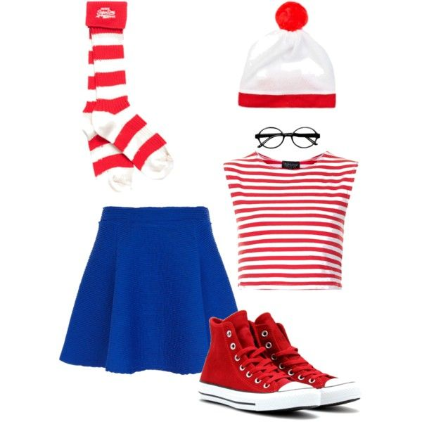 Ladies Red /& White Striped T-Shirt Fancy Dress Silly Wally Book Week Outfit