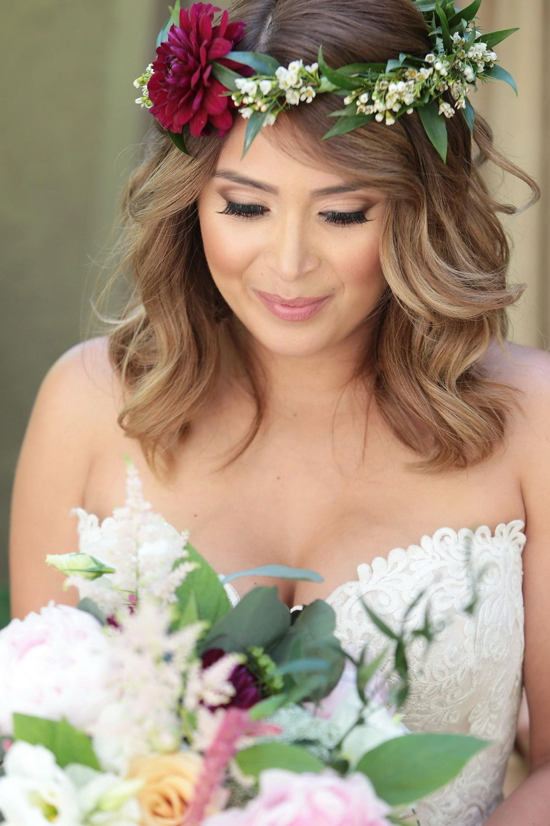 The smarter way to wed pinterest burgundy flowers loose curls flower crown burgundy flower loose curls lob cat eye kimberlee miller photography izmirmasajfo