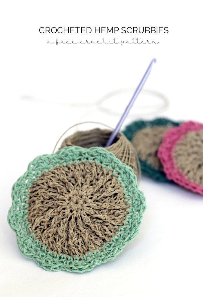 Crocheted Hemp Scrubbies - Free Pattern | Paño de cocina, Paños y Mantel