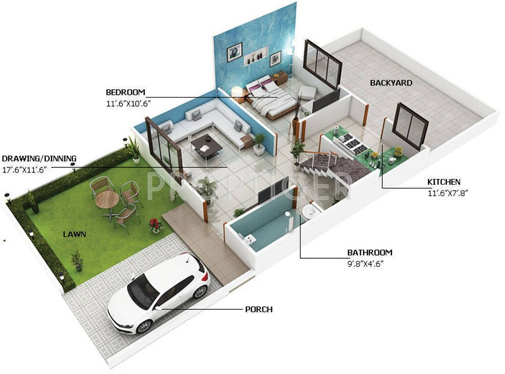 800 sq ft house plans 3d architecture casita guardian for Indian house plan for 800 sq ft