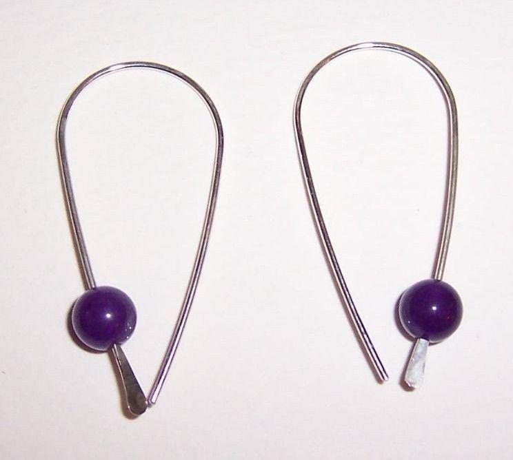 Handmade Sterling Silver Wire Earrings With Amethyst Beads #Handmade #Hoop