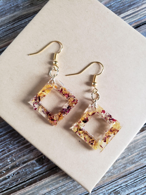 Photo of Flower Square Resin Earrings- Handmade Earrings- Resin Earrings- Flower Earrings- Resin Jewelry- Real Flower Earrings- Flowers in Resin