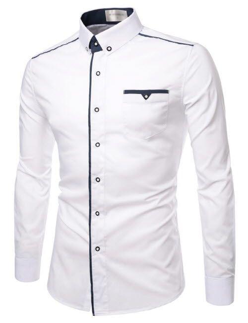 Fashion Mens Luxury Long Sleeve Casual Slim Fit Stylish Dress Shirts Plain Shirt