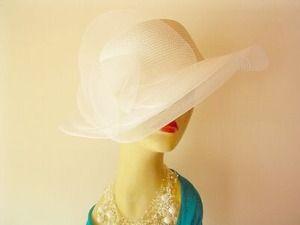 White Hat, Ladies Wide Brim Bridal Wedding Hat, Church Hats