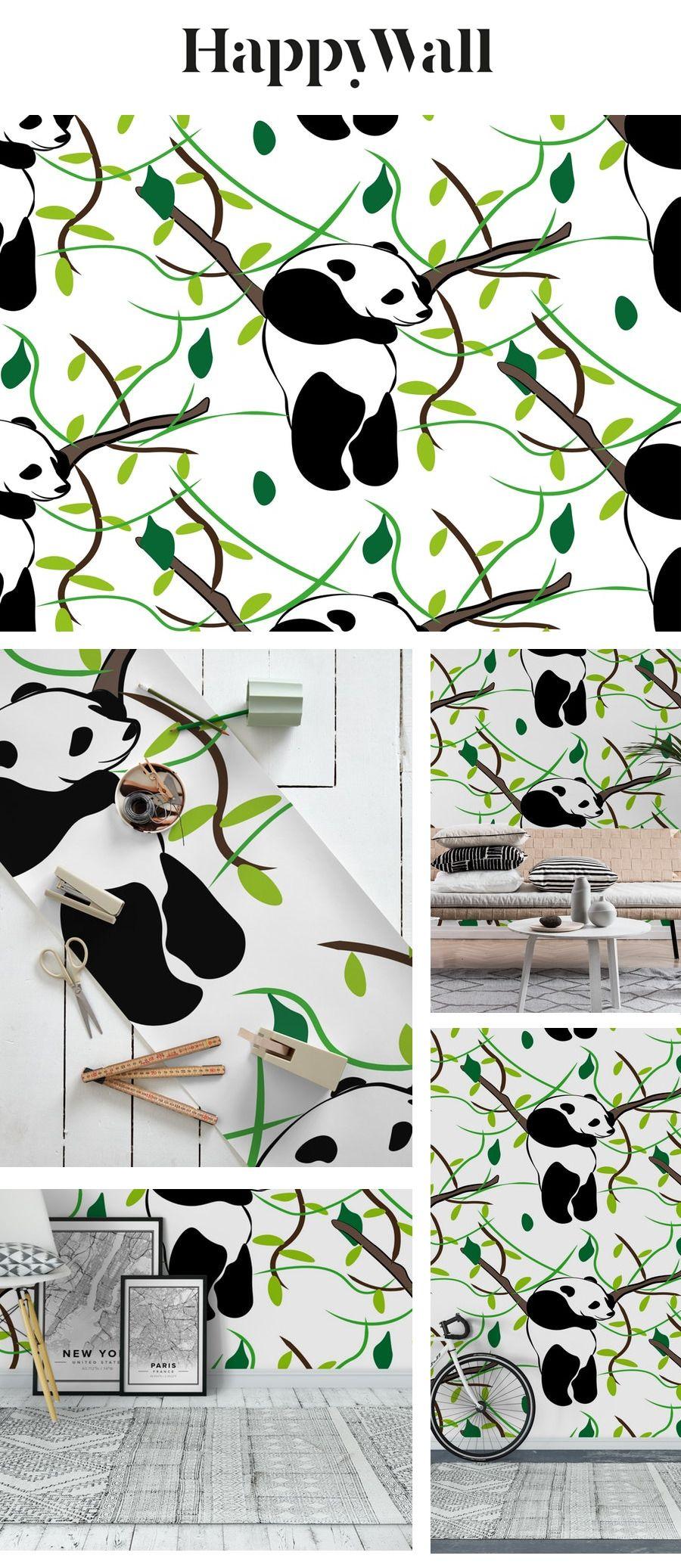 Pandas Wall mural in 2020 Panda wallpapers, Wall murals
