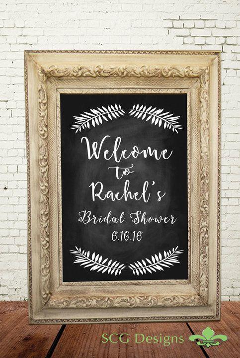 welcome bridal shower chalkboard poster sign chalkboard print