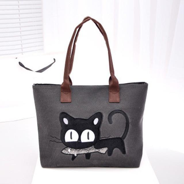 2016 Fashion Women Small Canvas Bag Cute Cat Bag Office Lunch Bag Women  Shoulder Handbag Ladies 922f2b909a8fb