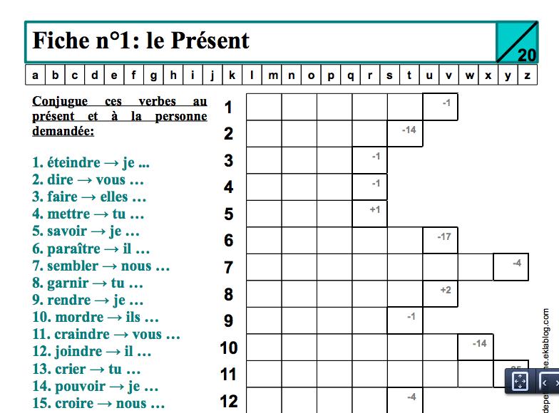 Pratiquer La Conjugaison Au Present De L Indicatif Avec Images Conjugaison Fle Enseignement