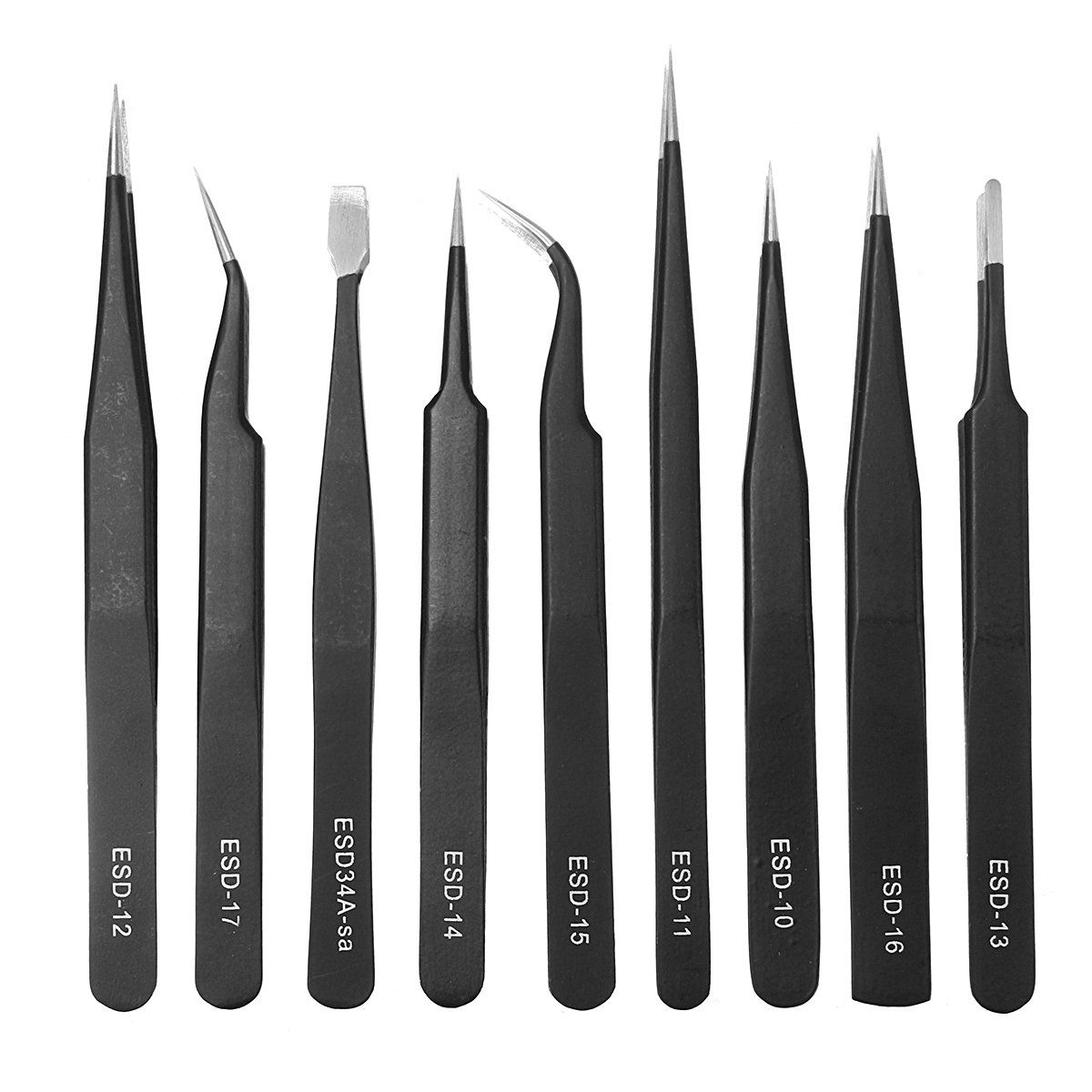 6pcs Gilded Non-magnetic Stainless Steel Jewelry ICs SMD Eyelash Tweezers Plier