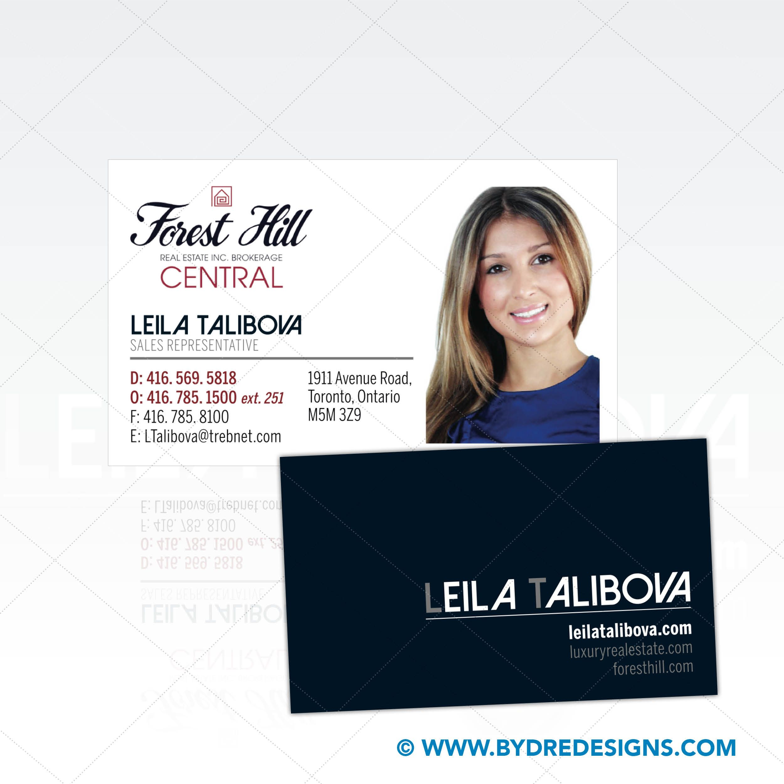 business card design print for leila talibova at forest hill