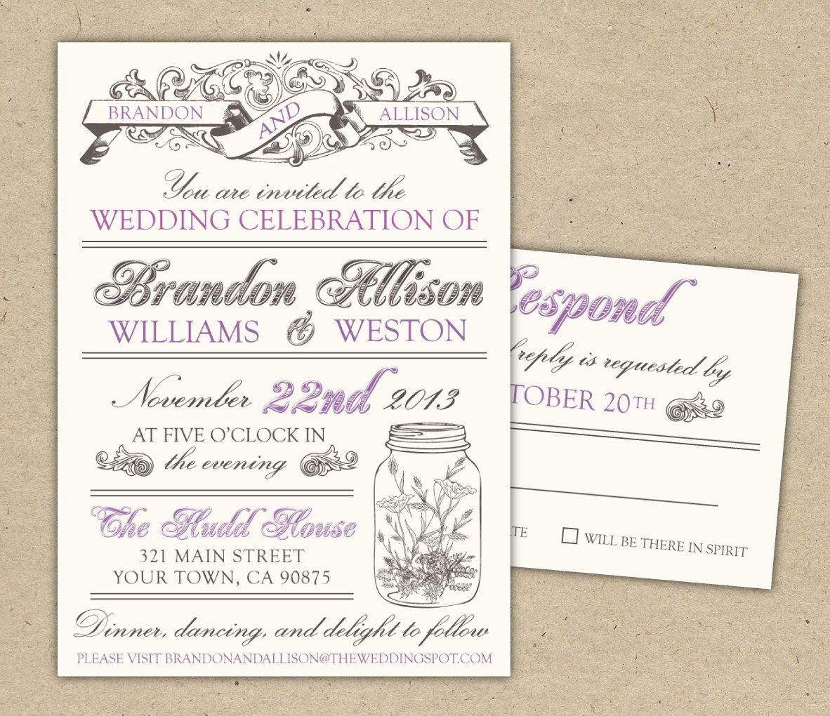 Vintage Wedding Invitation DIY Printable Template Modern Mason