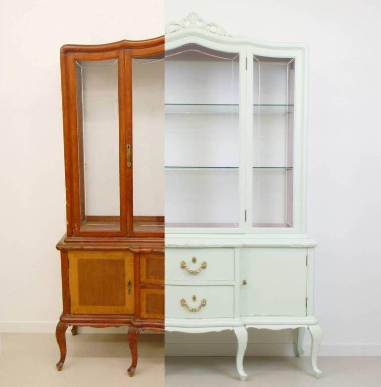 Paso a paso con fotos pintar vitrina de madera antic chic decoraci n vintage y eco chic how to - Reciclar muebles antiguos ...
