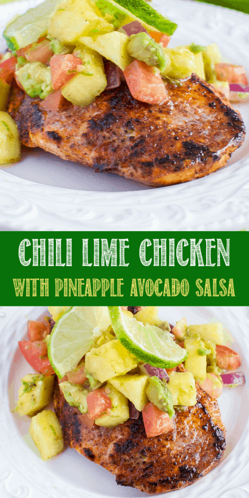 Chili Lime Chicken with Pineapple Avocado Salsa is a quick, easy, and healthy dinner recipe that's sure to please! Low carb, keto friendly, clean eating approved! #keto #lowcarb #chicken #salsa #avocado #pineapple #healthydinner #cleaneating via @BackForSeconds #quickeasydinners