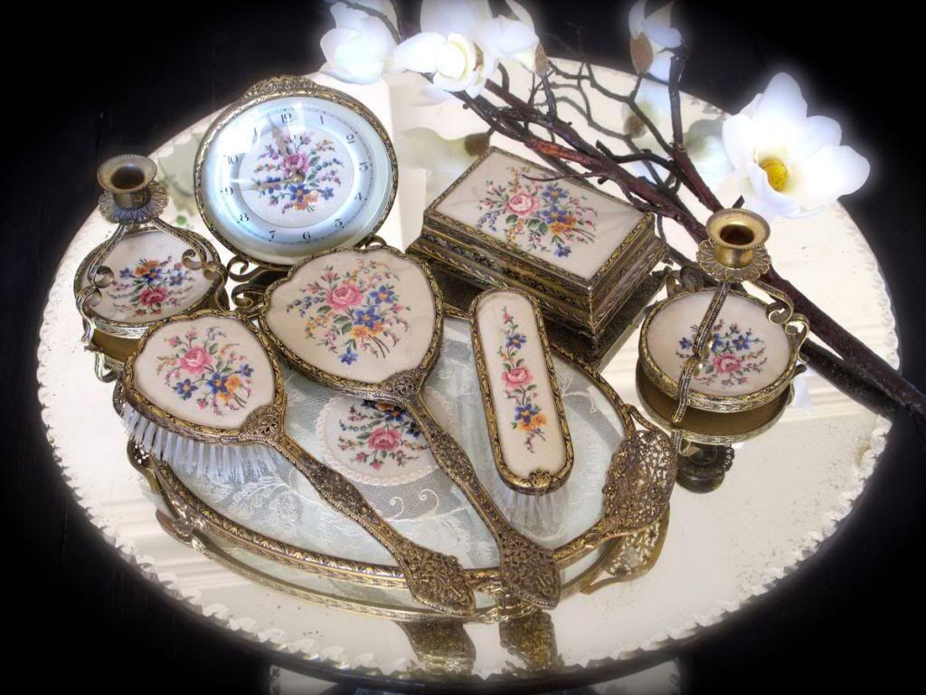 8 items vintage petit point dressing table set candlesticks mirror ...