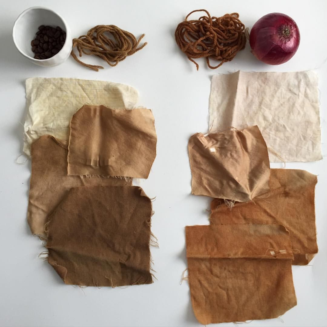 Dye Samples From The Natural Work I Taught A Weeks Ago On Left Coffee Beans Wool Yarn Linen Silk And Fabric
