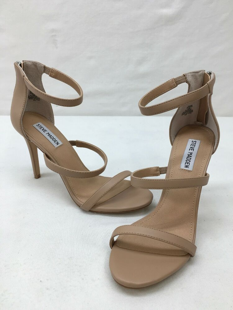 6637acb8244 Steve Madden Nude Faux Leather Strappy Heeled Sandals Size 9.5M ...