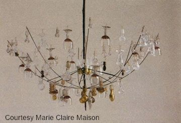 Glass Chandelier | 48 Ways to Repurpose Your Kid's Old Stuff