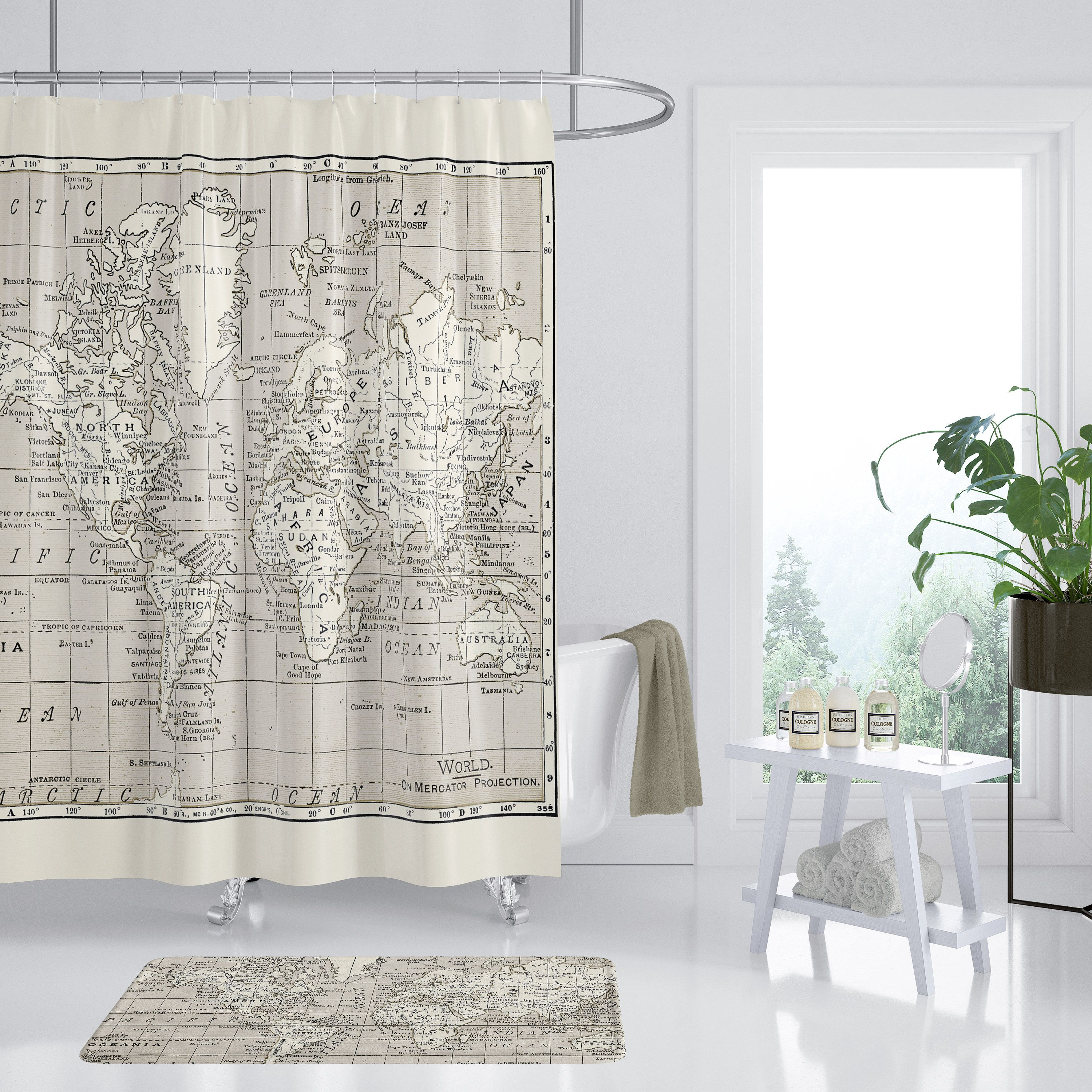 World Map Shower Curtain 72x72 Funny Shower Curtains Vinyl Shower Curtains Curtains