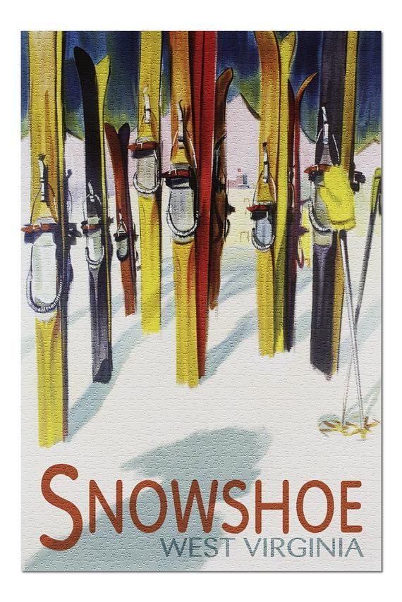 Snowshoe, West Virginia - Colorful Skis (20x30 Premium 1000 Piece Jigsaw Puzzle, Made in USA!) #westvirginia