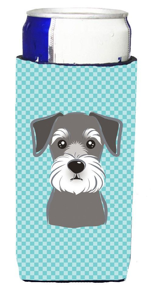 Checkerboard Blue Schnauzer Ultra Beverage Insulators for slim cans BB1144MUK
