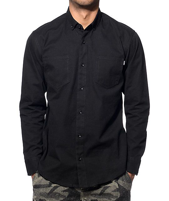 Fairplay Kamdon Black Long Sleeve Button Up Shirt | Black