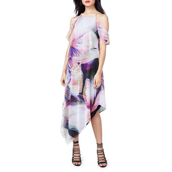 Rachel Rachel Roy Cold Shoulder Asymmetric Dress ($159) ❤ liked on Polyvore featuring dresses, halter-neck dress, cut-out shoulder dresses, cold shoulder dress, floral print dress and halter top