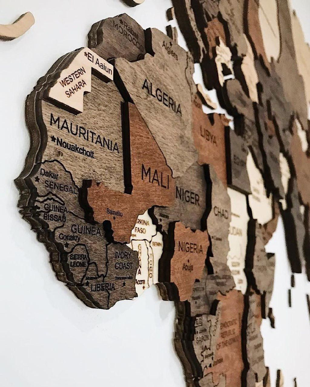 Mapa de pared 3D Mundo Mapa de madera Decoración idea Diseño