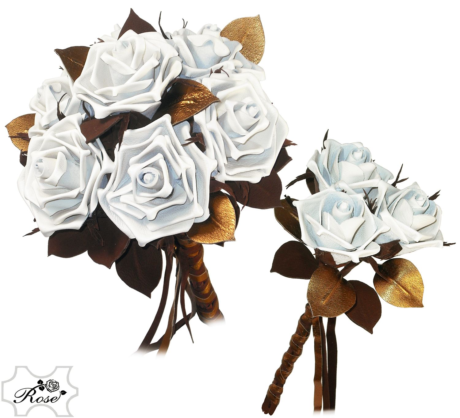 Leather wedding bouquet and bridesmaid posy for a steampunk wedding ...