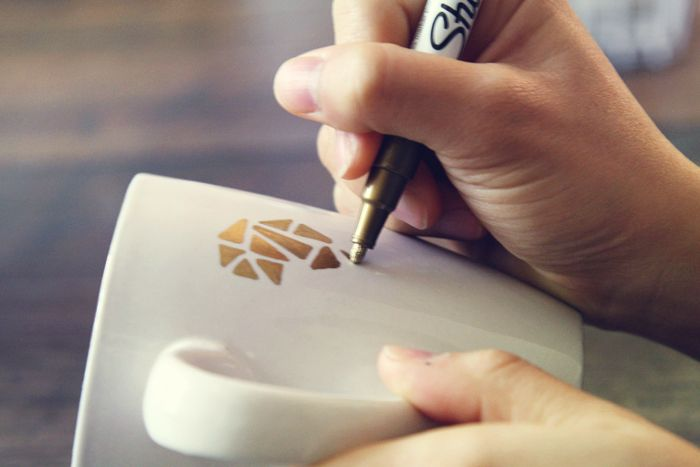 gold sharpie on mug