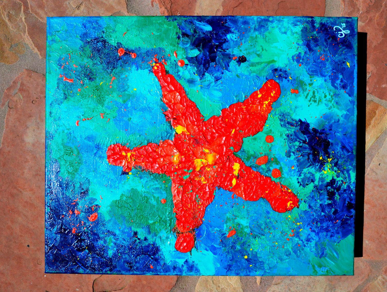 Starfish art, Starfish painting, starfish wall art, starfish bold, starfish wall decor starfish underwater starfish original by SeaHouseArt on Etsy