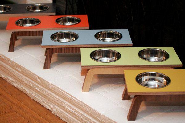 Mid Century Modern Pet Feeder & stainless steel bowls